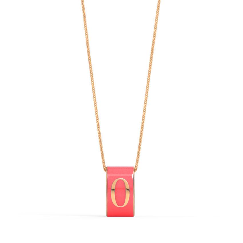 Gold Pendants 14 Karat Rose Gold Number 0 Vibrant Gold Pendant