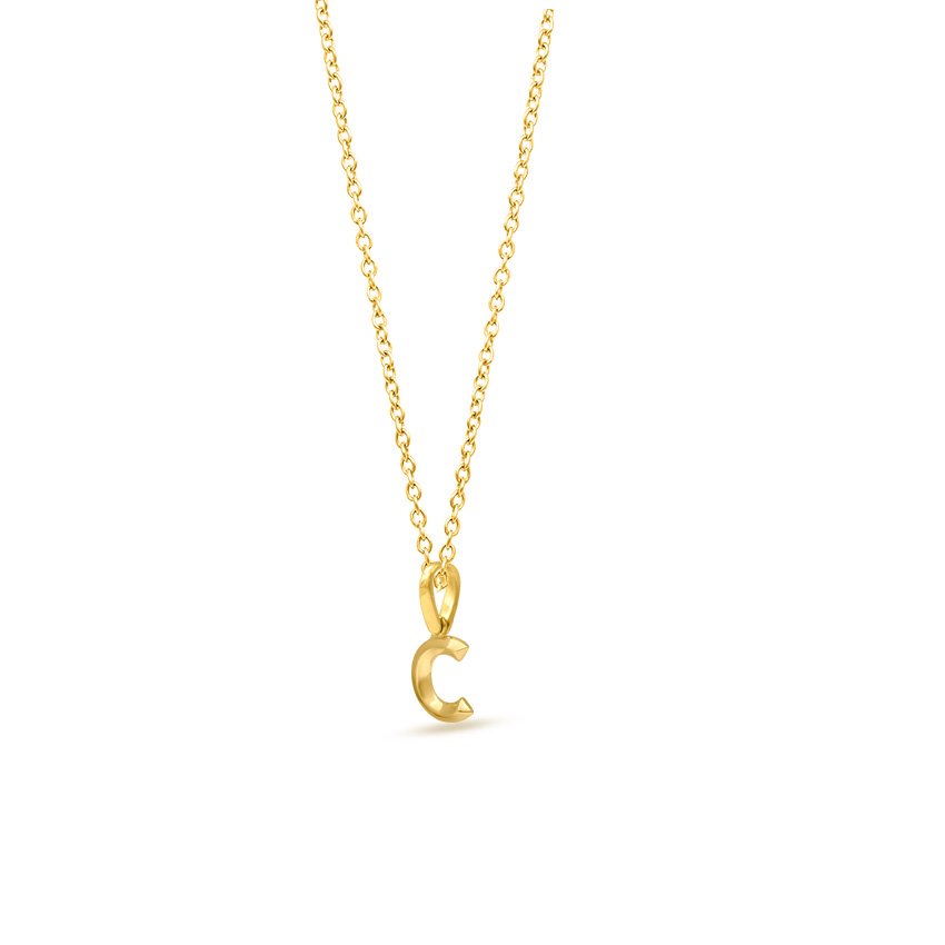 Gold Pendants 14 Karat Rose Gold Bold Alphabet C Gold Pendant