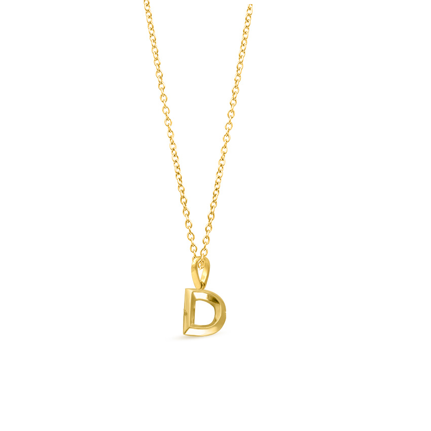 Gold Pendants 14 Karat Yellow Gold Bold Alphabet D Gold Pendant