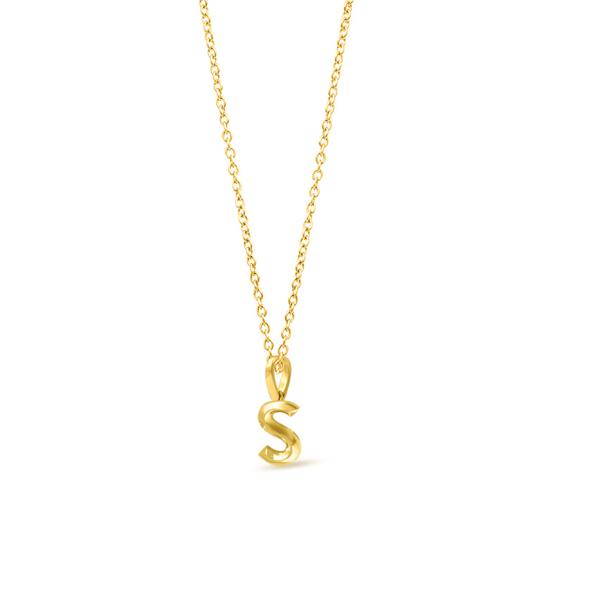 Gold Pendants 14 Karat Yellow Gold Bold Alphabet S Gold Pendant