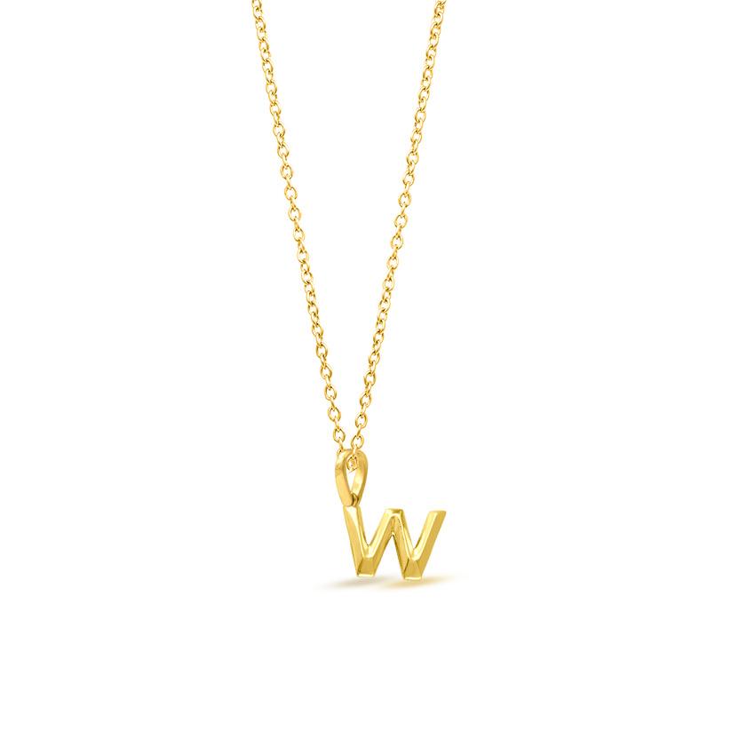 Gold Pendants 14 Karat Yellow Gold Bold Alphabet W Gold Pendant