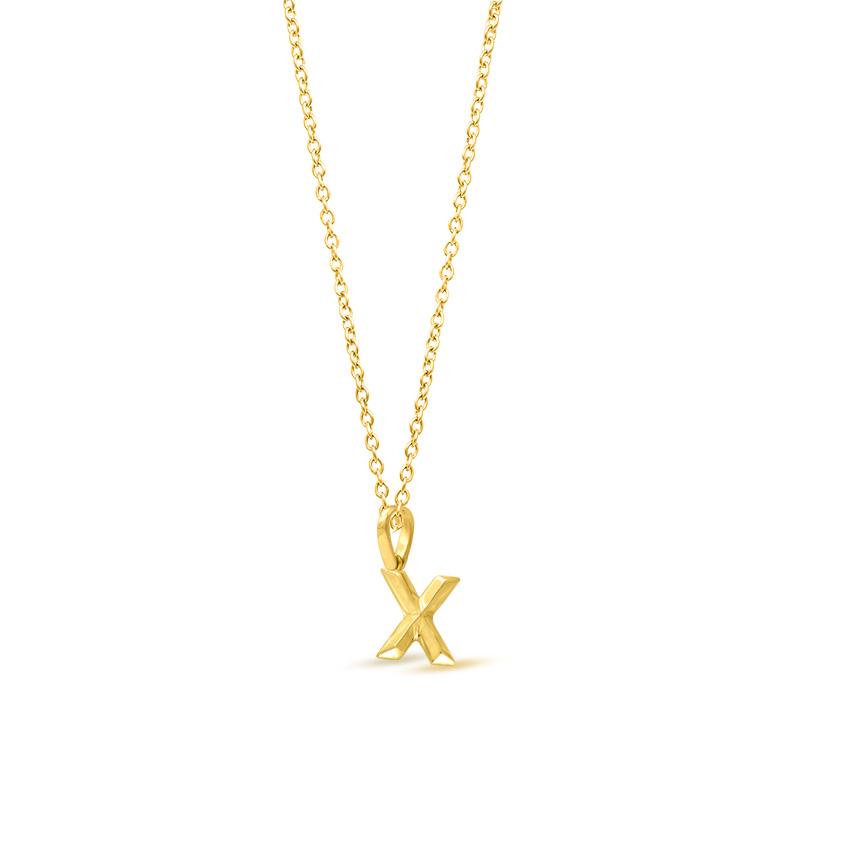 Gold Pendants 14 Karat Yellow Gold Bold Alphabet X Gold Pendant