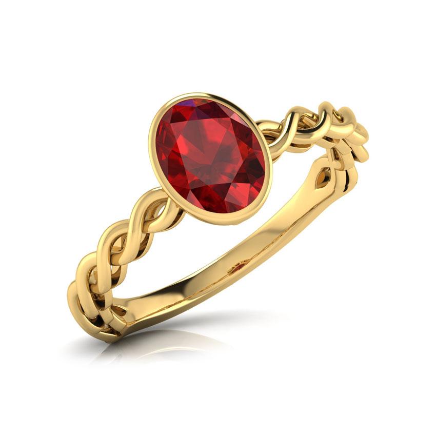 Gold Rings 14 Karat White Gold Wave Garnet Gemstone Ring