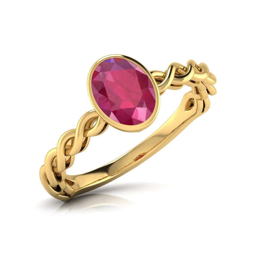 Wave Ruby Birthstone Ring
