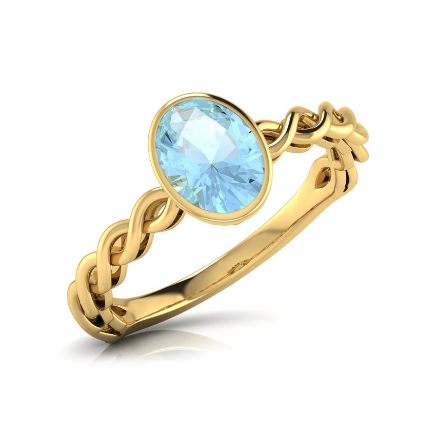 Wave Blue Topaz Birthstone Ring