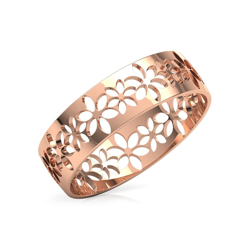 Gold Rings 18 Karat Rose Gold Floret Cutout Gold Band