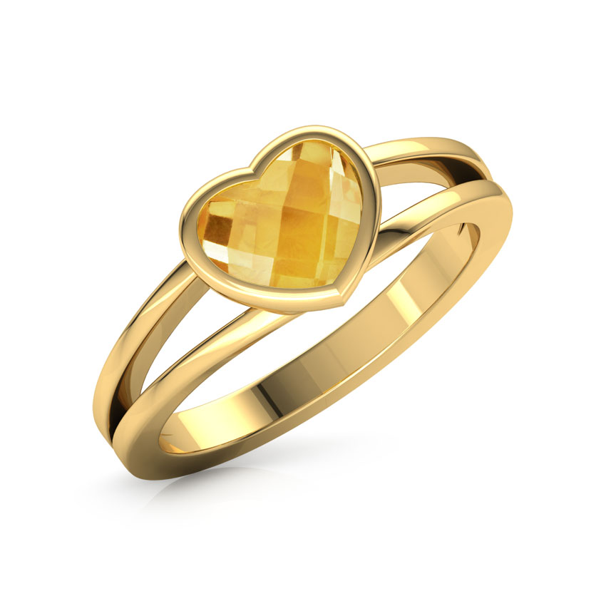 Blazing Citrine Heart Ring