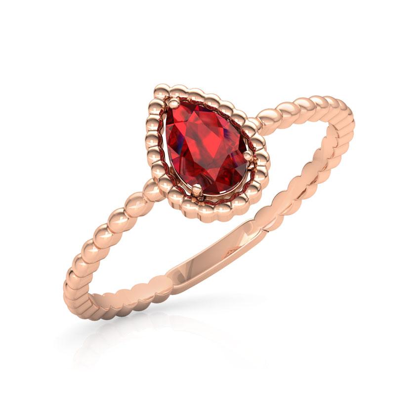Gold Rings 18 Karat Rose Gold Garnet Pear Gemstone Ring