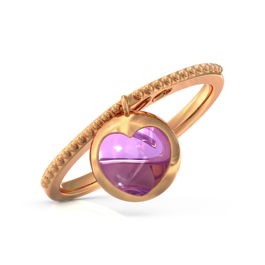 Amethyst Orb Heart Ring