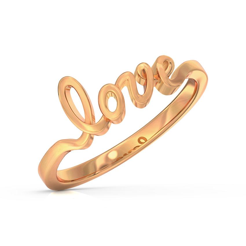 Gold Rings 14 Karat Rose Gold Love Cursive Gold Ring