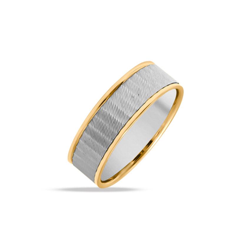 Platinum,Gold Rings Platinum 950, 18 Karat Two Tone Gold Cyril Platinum Band for Men