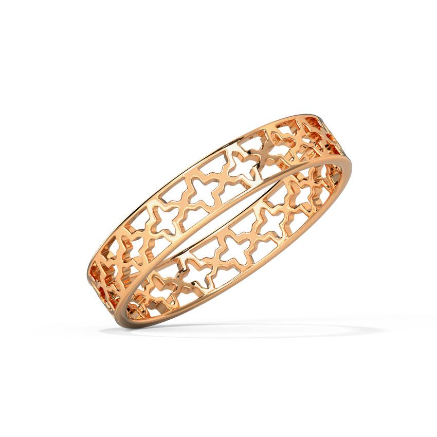 Gold Rings 18 Karat Rose Gold Mystic Cutout Gold Band