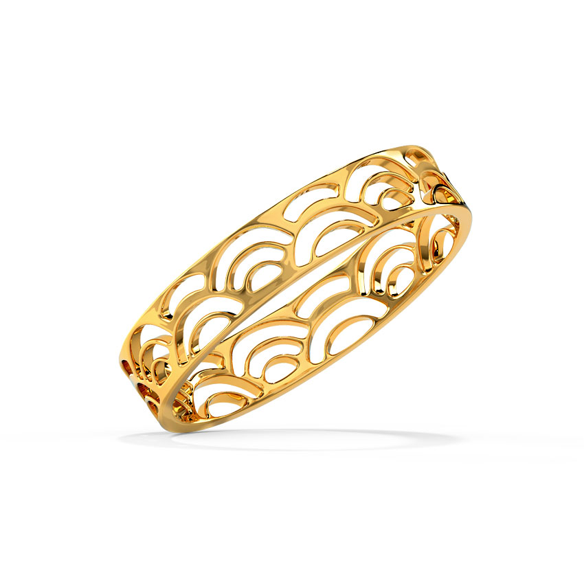 Gold Rings 18 Karat Yellow Gold Crescent Cutout Gold Band