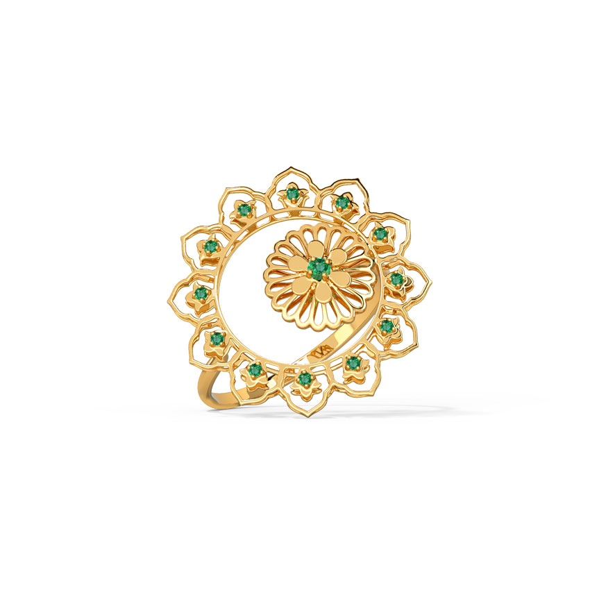 Gold,Gemstone Rings 14 Karat Yellow Gold Mishka Cutout Gemstone Ring