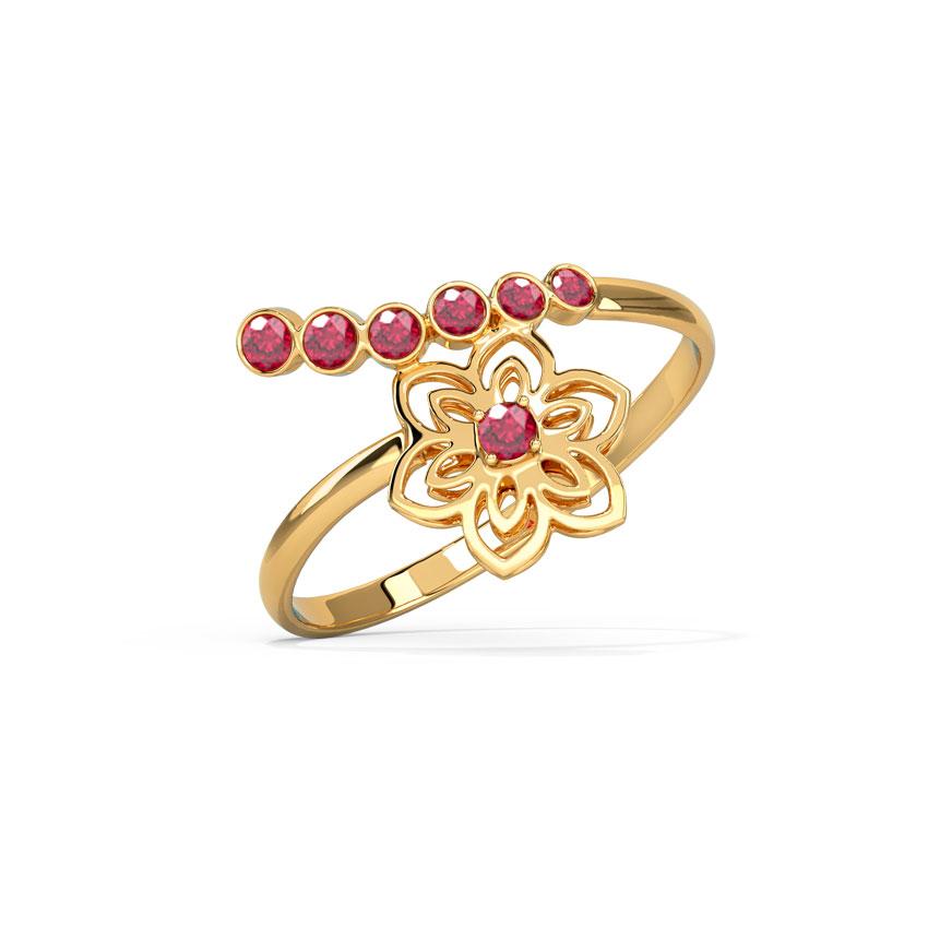Gold,Gemstone Rings 14 Karat Yellow Gold Veera Cutout Gemstone Ring