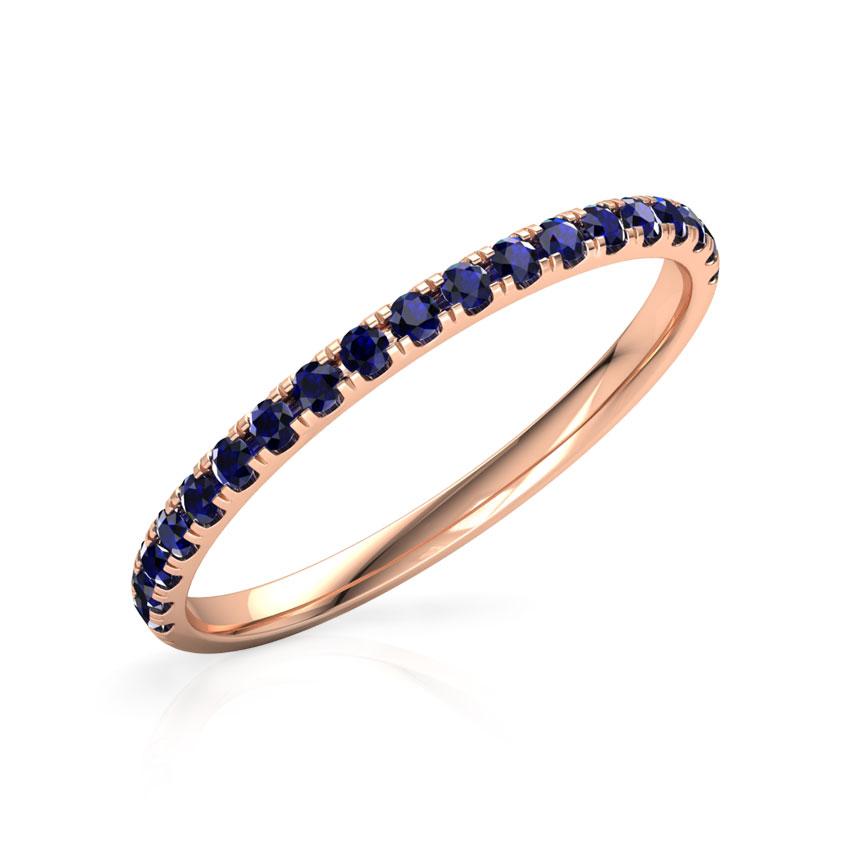 Gold Rings 18 Karat Rose Gold Azure Linear Gemstone Ring