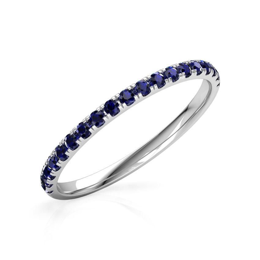 Gold Rings 18 Karat White Gold Azure Linear Gemstone Ring