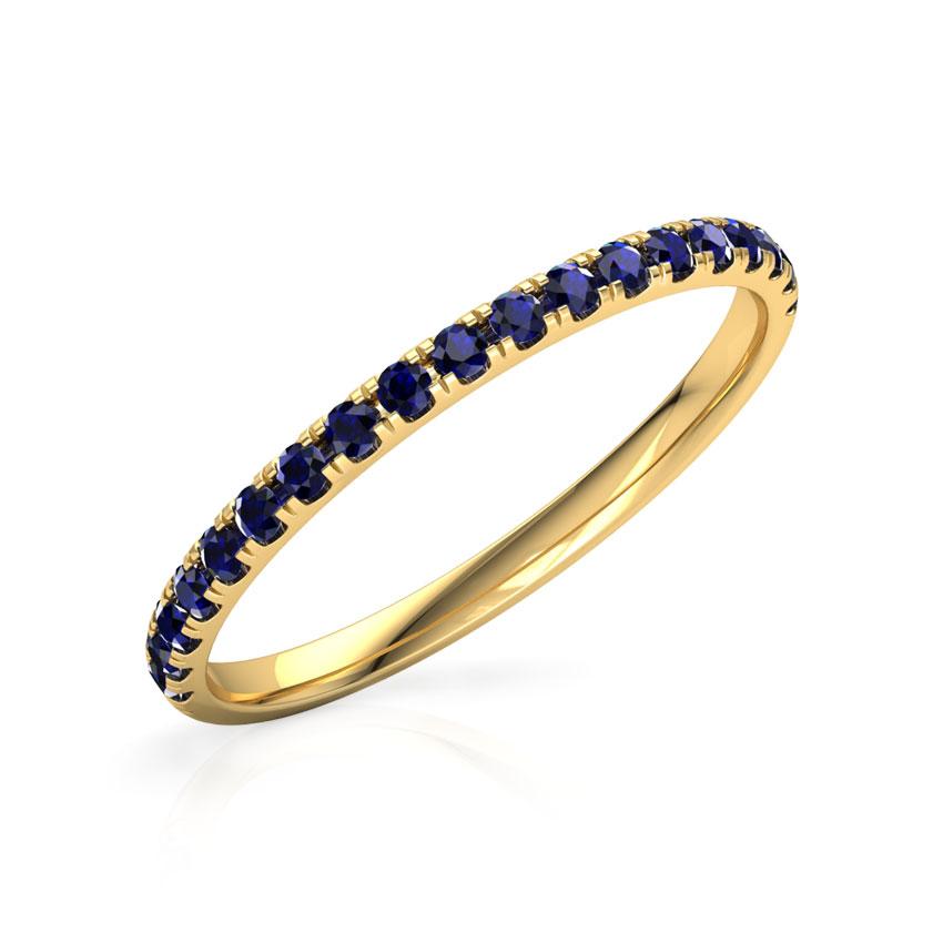 Gold Rings 18 Karat Yellow Gold Azure Linear Gemstone Ring