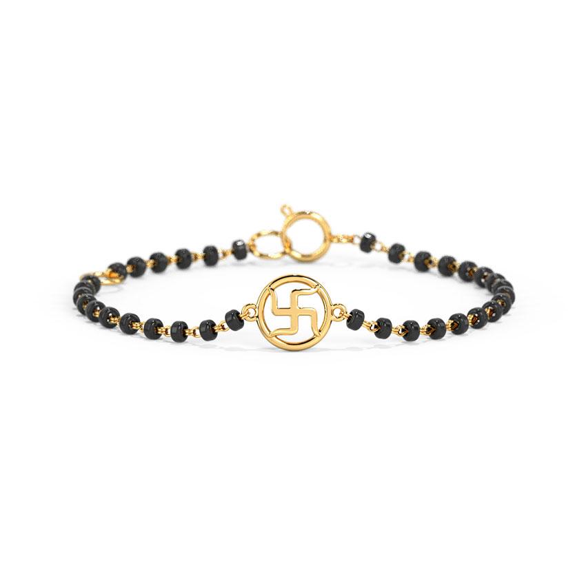 Gold Bracelets 18 Karat Yellow Gold Swastik Baby Nazaria Gold Bracelet