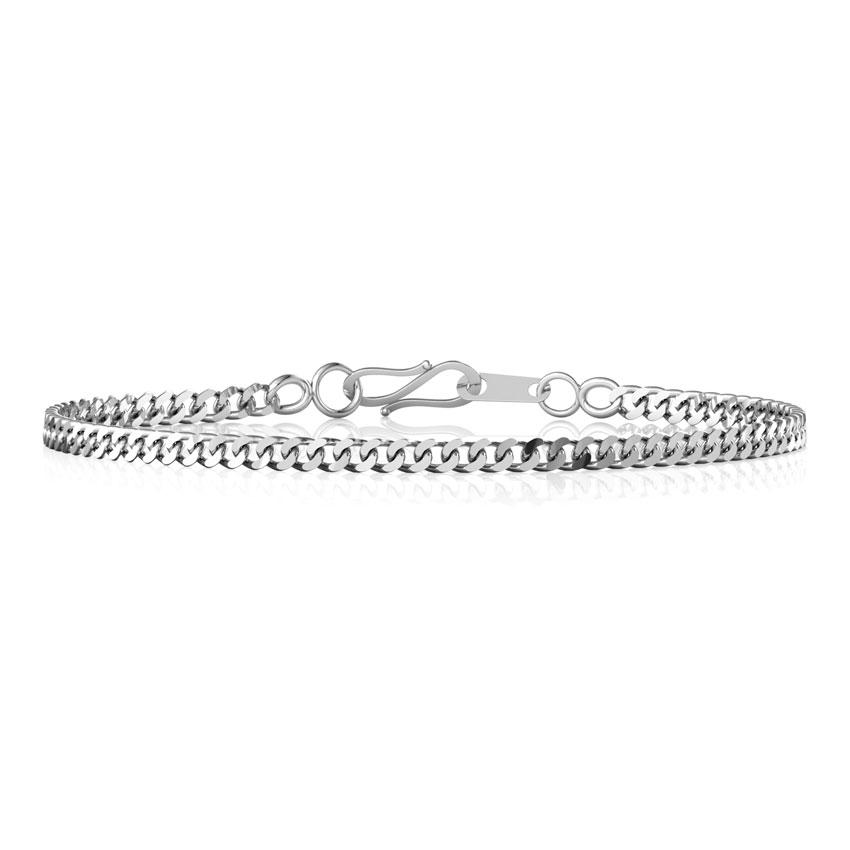 Demure Platinum Curb Bracelet