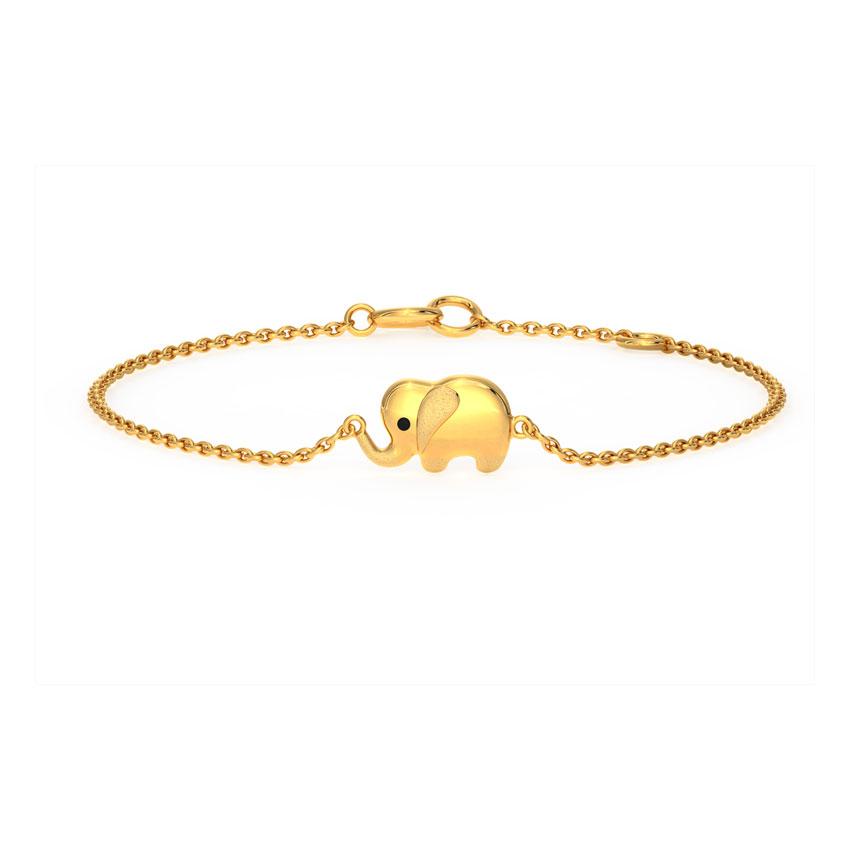 Gold Bracelets 14 Karat Yellow Gold Elephant Kids' Gold Bracelet