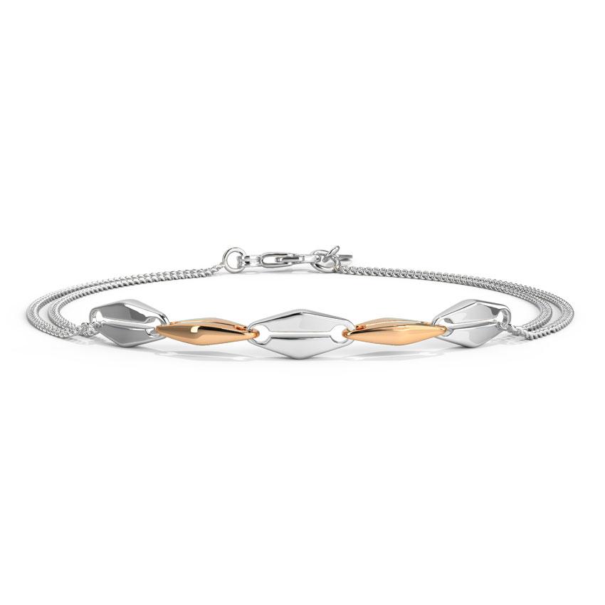 Platinum,Gold Bracelets Platinum 950, 18 Karat Two Tone Gold Cora Linked Platinum Bracelet