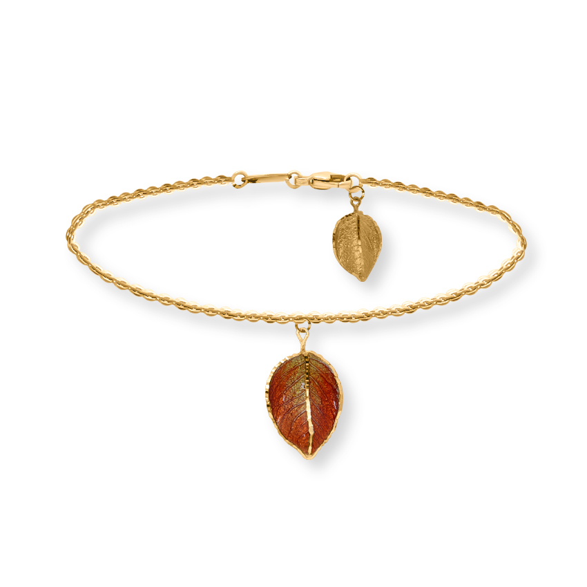 Gold Bracelets 14 Karat Yellow Gold Swaying Leaf Gold Bracelet