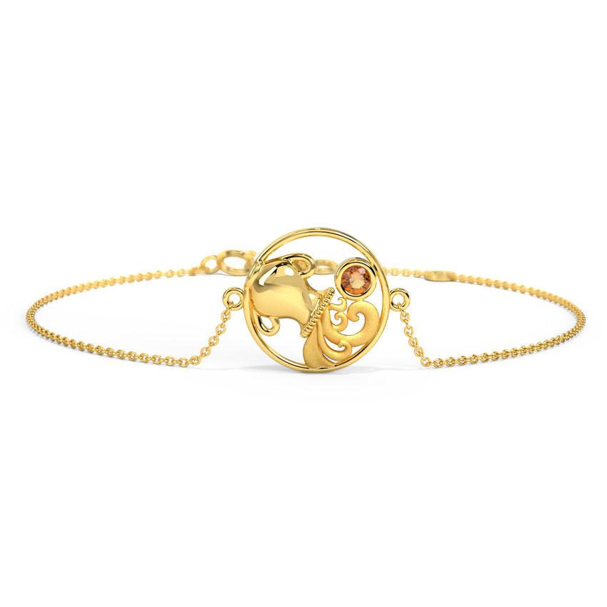 Gold,Gemstone Bracelets 14 Karat Yellow Gold Bright Aquarius Zodiac Gemstone Bracelet