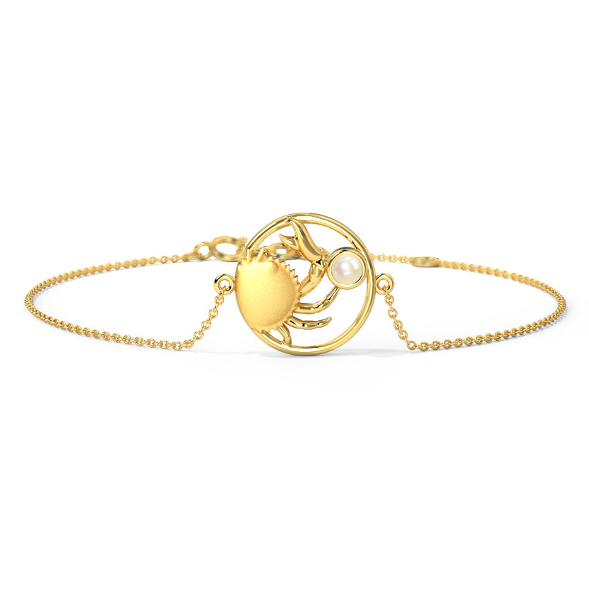 Gold,Gemstone Bracelets 14 Karat Yellow Gold Devoted Cancer Zodiac Gemstone Bracelet