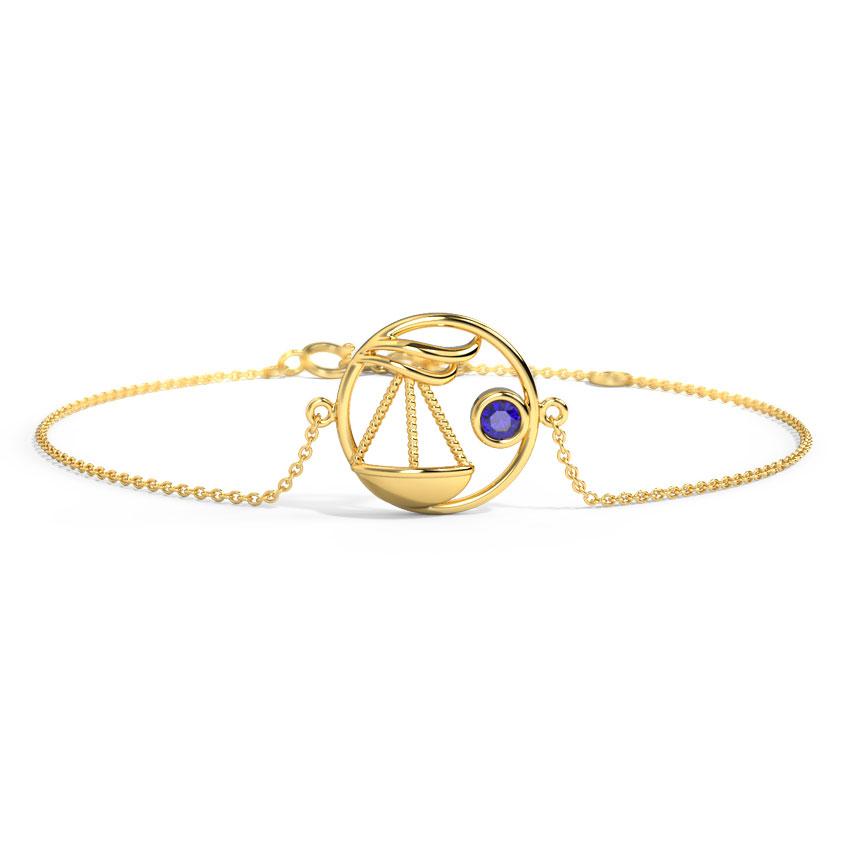 Gold,Gemstone Bracelets 14 Karat Yellow Gold Charming Libra Zodiac Gemstone Bracelet