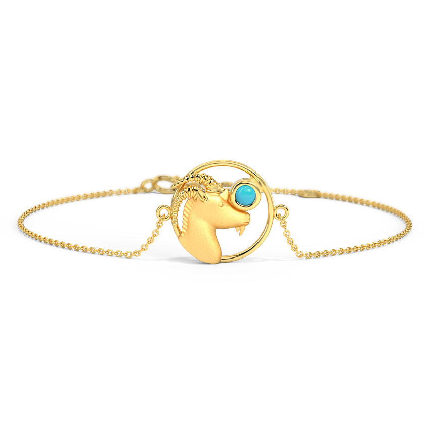 Gold,Gemstone Bracelets 14 Karat Yellow Gold Witty Capricorn Zodiac gemstone Bracelet