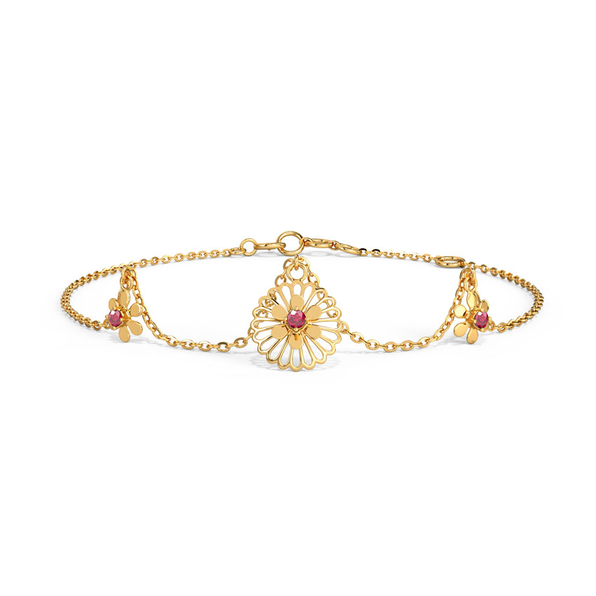 Gold,Gemstone Bracelets 14 Karat Yellow Gold Mishka Cutout Gemstone Bracelet