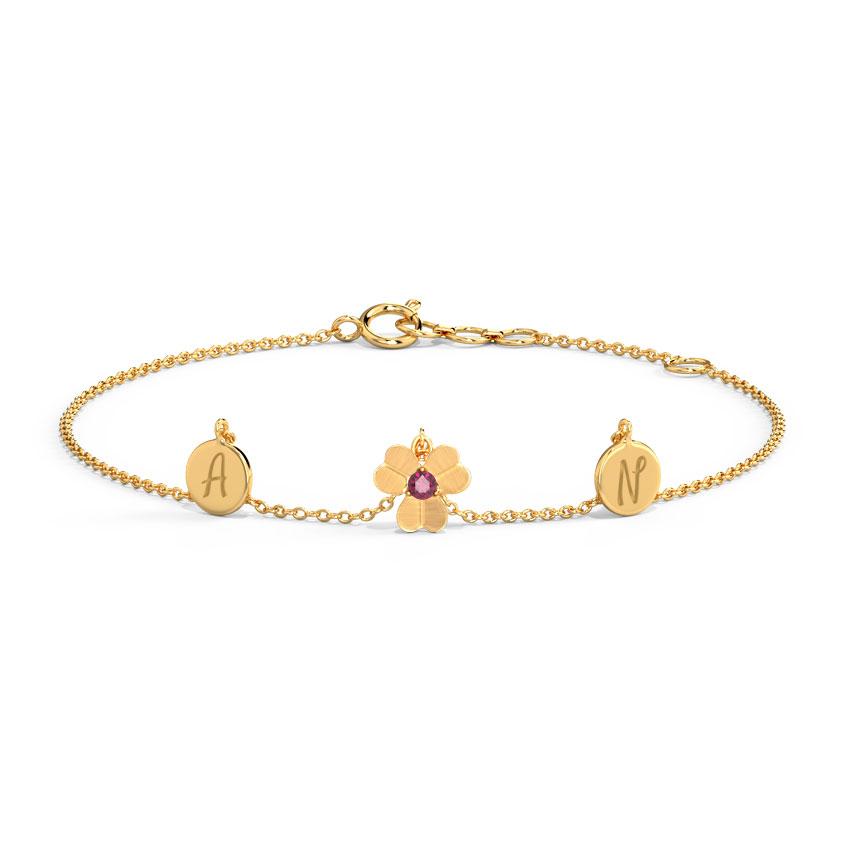 Gold,Gemstone Bracelets 14 Karat Yellow Gold Charming Clover Personalised Gemstone Bracelet