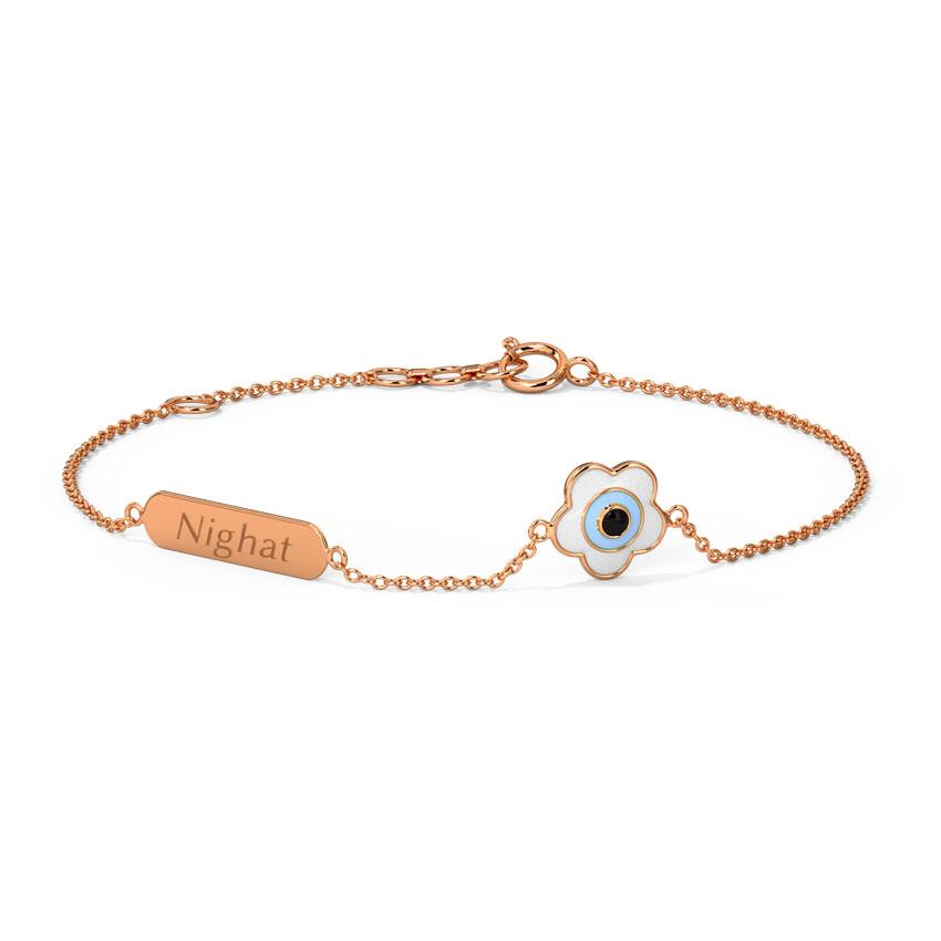 Gold Bracelets 14 Karat Rose Gold Evil Eye Personalised Gold Bracelet