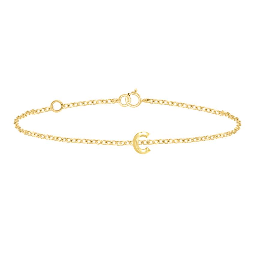 Gold Bracelets 14 Karat Yellow Gold Bold Gold Alphabet C Bracelet