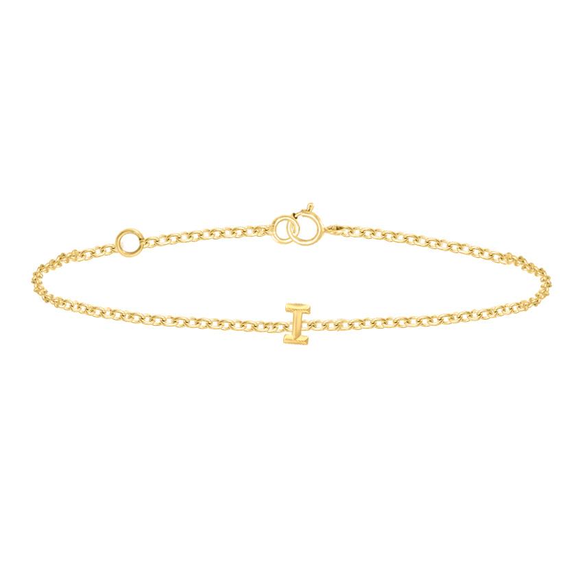 Gold Bracelets 14 Karat Yellow Gold Bold Gold Alphabet I Bracelet