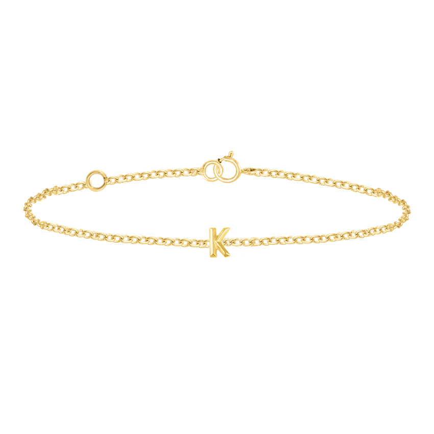 Gold Bracelets 14 Karat Yellow Gold Bold Gold Alphabet K Bracelet