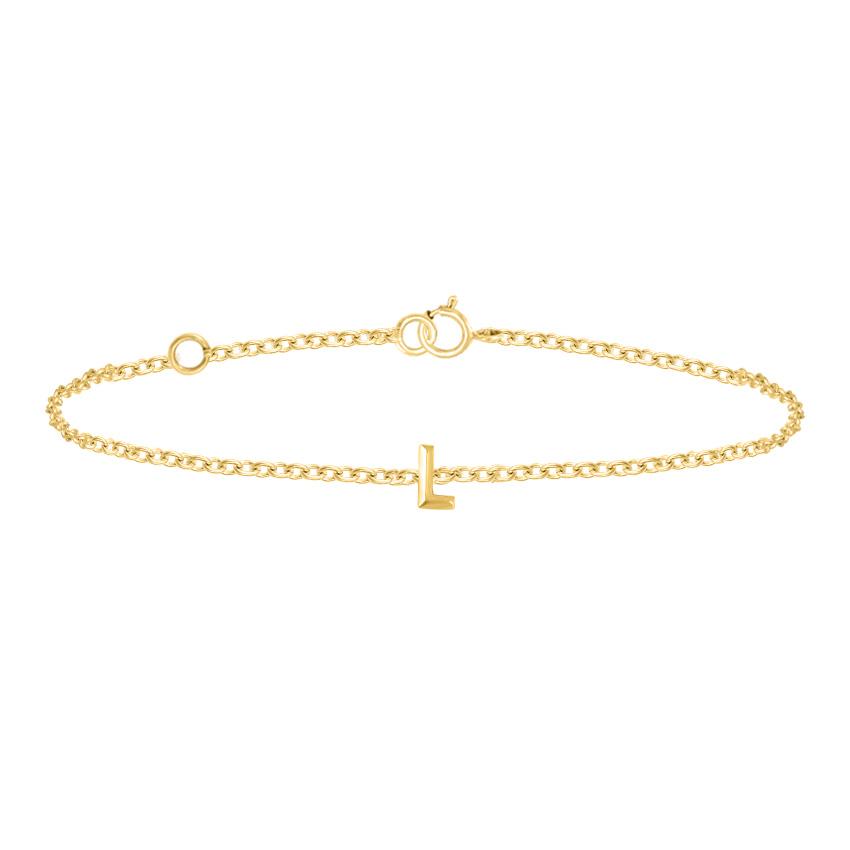 Gold Bracelets 14 Karat Yellow Gold Bold Gold Alphabet L Bracelet