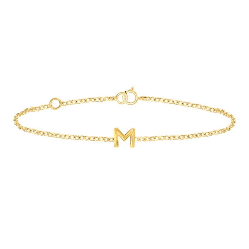 Gold Bracelets 14 Karat Yellow Gold Bold Gold Alphabet M Bracelet