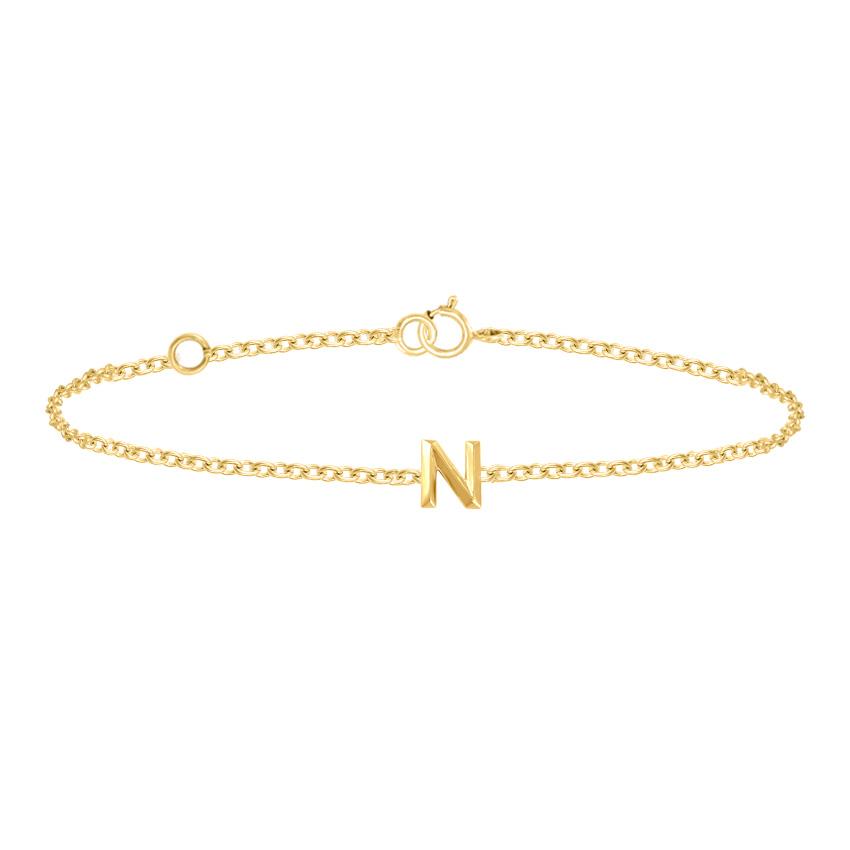Gold Bracelets 14 Karat Rose Gold Bold Gold Alphabet N Bracelet