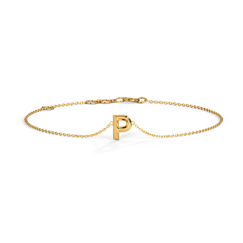 Gold Bracelets 14 Karat Yellow Gold Bold Gold Alphabet P Bracelet