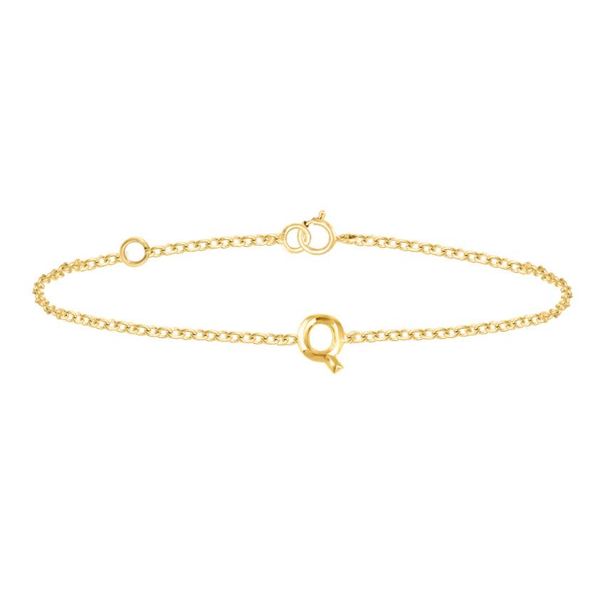 Gold Bracelets 14 Karat Yellow Gold Bold Gold Alphabet Q Bracelet