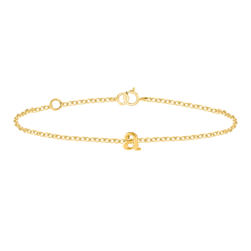 Gold Bracelets 14 Karat Yellow Gold Classic Gold Alphabet A Bracelet
