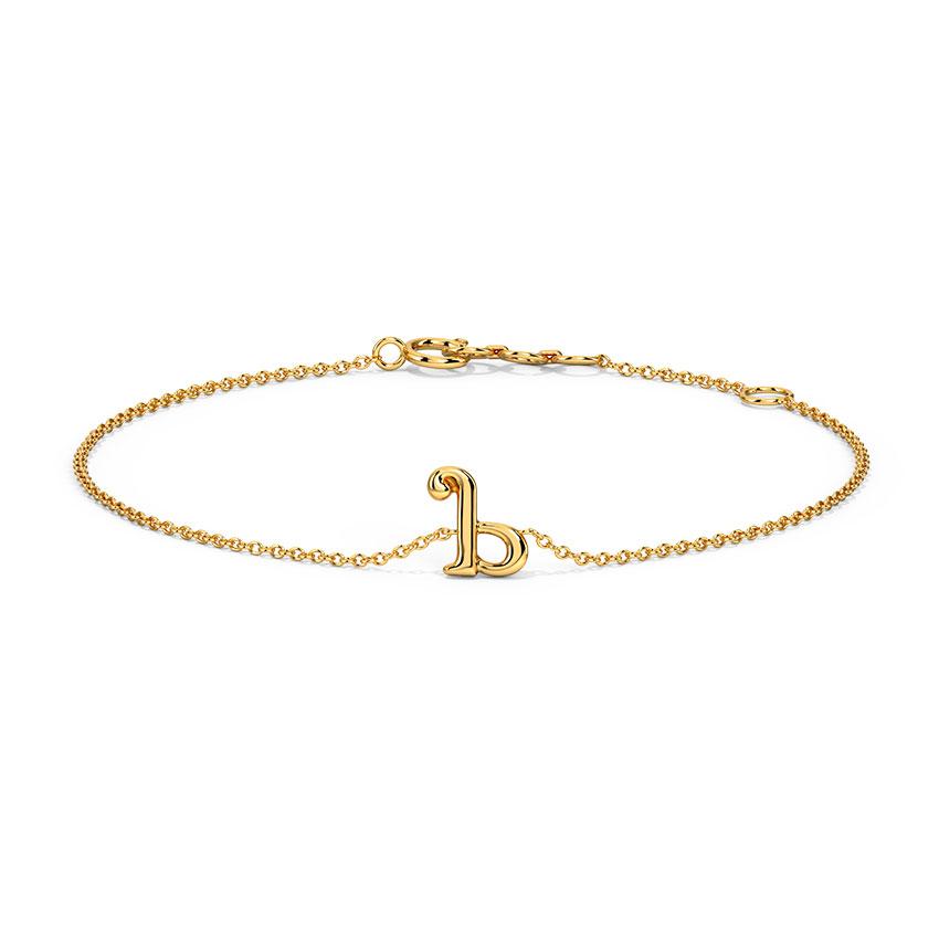 Gold Bracelets 14 Karat Yellow Gold Classic Gold Alphabet B Bracelet