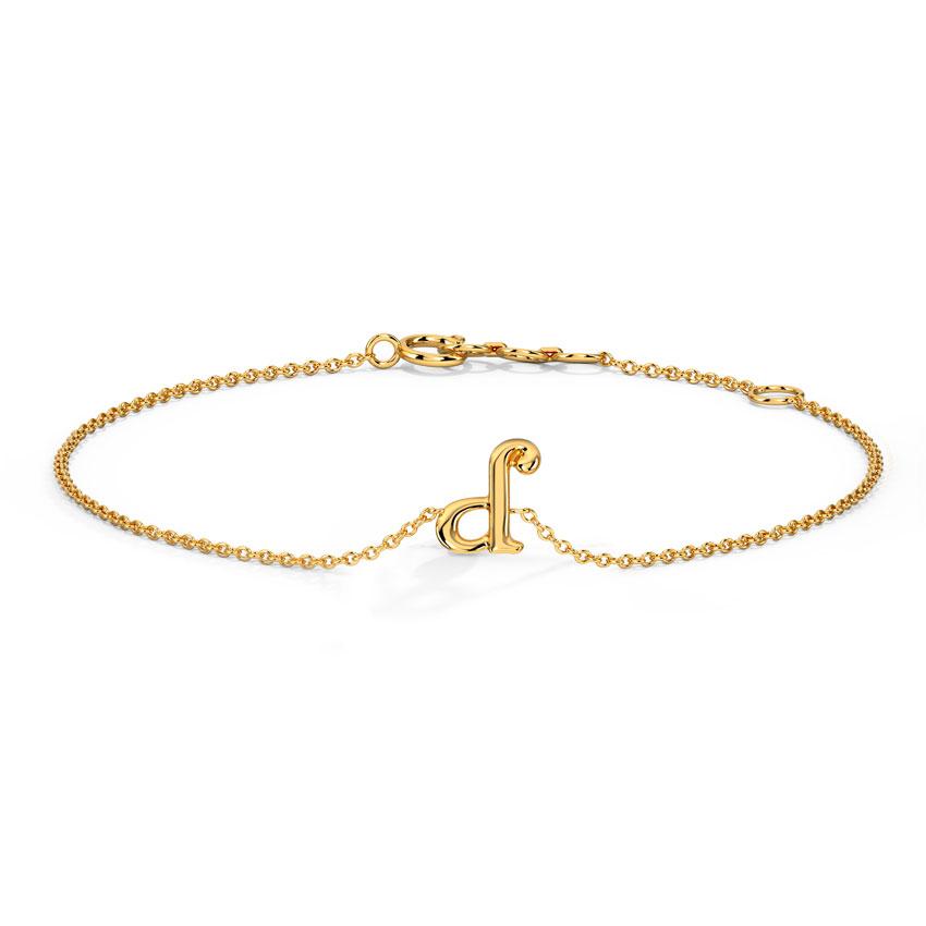 Gold Bracelets 14 Karat Yellow Gold Classic Gold Alphabet D Bracelet
