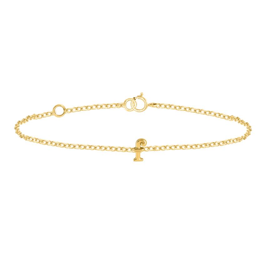 Gold Bracelets 14 Karat Yellow Gold Classic Gold Alphabet F Bracelet