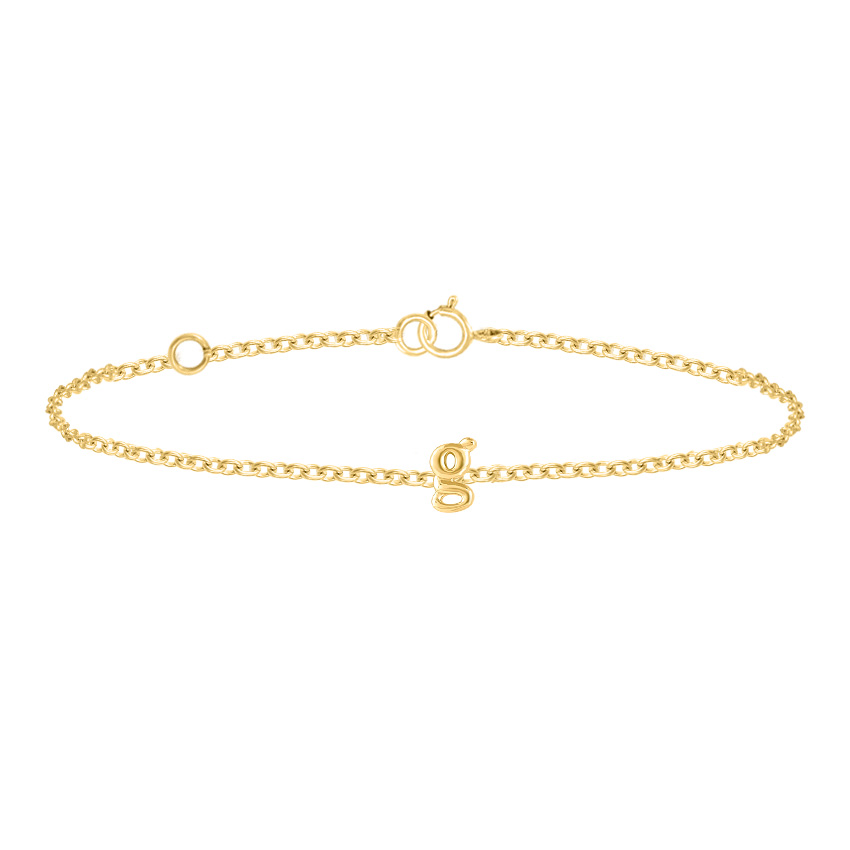 Gold Bracelets 14 Karat Yellow Gold Classic Gold Alphabet G Bracelet