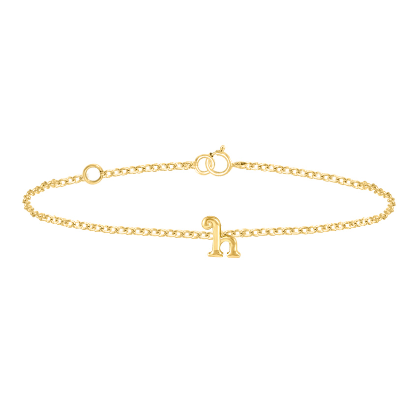 Gold Bracelets 14 Karat Yellow Gold Classic Gold Alphabet H Bracelet