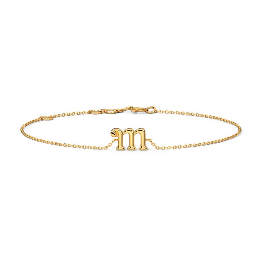 Gold Bracelets 14 Karat Rose Gold Classic Gold Alphabet M Bracelet