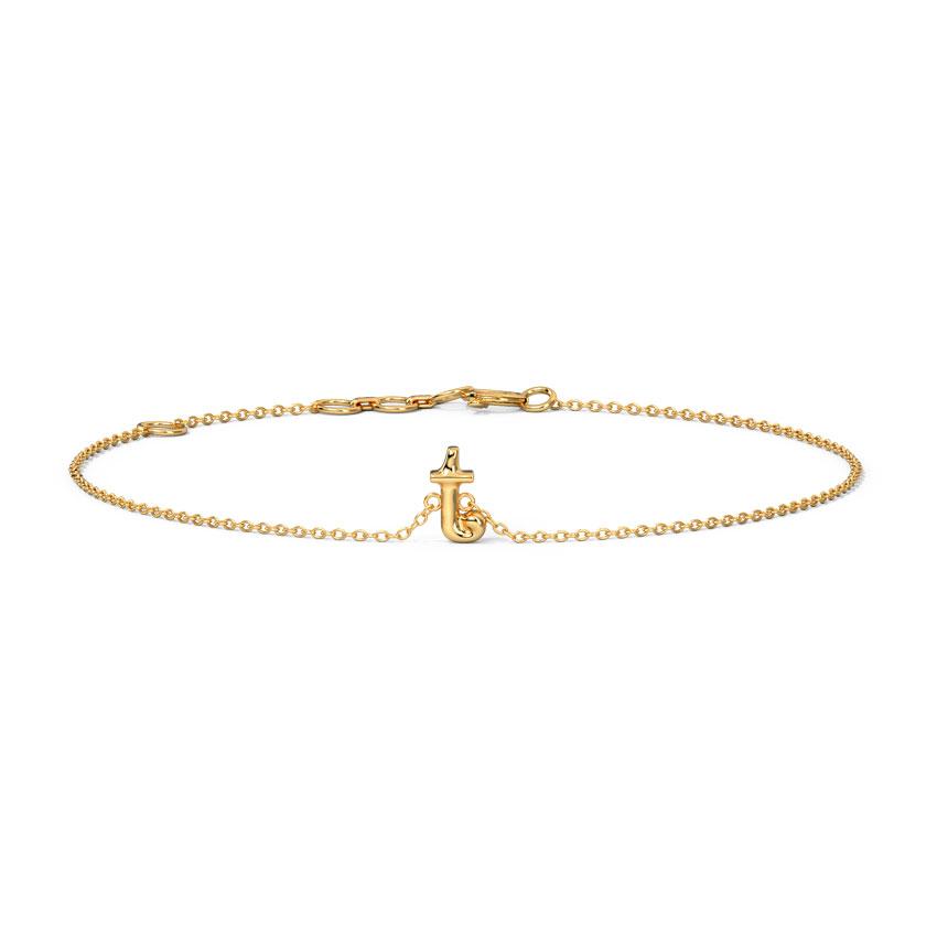 Gold Bracelets 14 Karat Yellow Gold Classic Gold Alphabet T Bracelet